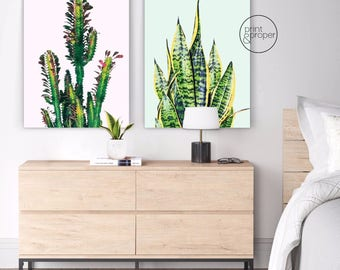 CACTUS SUCCULENT SCANDI Watercolour - 2 x Wall Art Print Canvas - On Trend