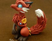 Red Fox - Estrella serie - polymer clay figurine Premo gift canine wolf renard kitsune sculpture calicogriffin white blue glass eyes
