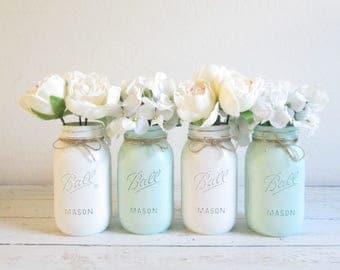 Painted Mason Jars - Mason Jar Centerpieces - Mason Jars Bulk - Mint Green and White Mason Jars - Painted Flower Vases