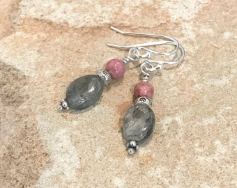 Pink and gray drop earrings, sterling silver drop earrings, labradorite earrings, dangle earrings, sundance style earrings, gift for her