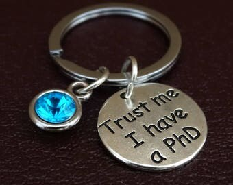 PhD Keychain, PhD Key Chain, PhD Charm, PhD Pendant, PhD Gift, PhD Graduation Gift, PhD Student, Doctor of Philosophy, PhD Student Gift