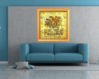 Wall Art Still Life Painting Impressionist Art Modern Art Print Floral Art Print Canvas Flower Bouquet Yellow Orange Giclée Art Print Flowe