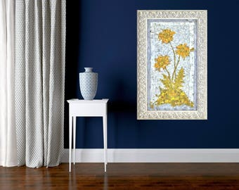 Classic Flower Painting, Giclée Print, Dandelions Flower Wall Art Still Life Painting Impressionist Art Modern Floral Art Yellow Gray Colors