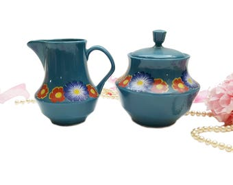 Vintage Weidmann Cream and Sugar Set Teal Blue Art Deco Floral Tea Set, Afternoon Tea Mid Century Made in Italy,