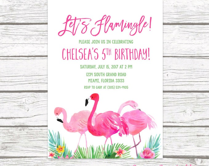 Flamingo Invitation, Let's Flamingle Invitation, Flamingo Birthday Invitation, Girl First 1st Birthday Invitation Printable, Pink and Green
