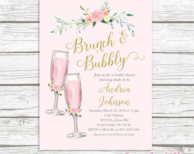 Brunch and Bubbly Bridal Shower Invitation, Brunch & Bubbly Invitation, Champagne Bridal Shower Invitation, Bridal Shower Invite Pink Gold