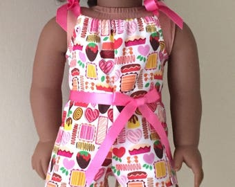 Fits American Girl doll:  candy print pillowcase romper