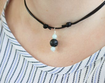 Amazonite Lava Rock Aromatherapy Necklace, Gemstone Necklace, Crystal Pendant Essential Oil Diffuser, Long / Choker Necklace, Vegan Friendly