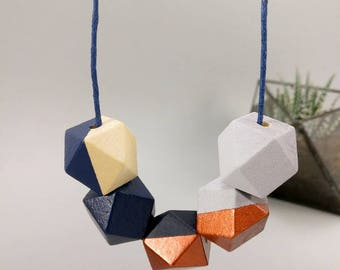 Geometric Necklace - Navy, Copper & Concrete | Statement Necklace | Gift for her | Geometric Jewellery | Beaded necklace | Geo | Concrete