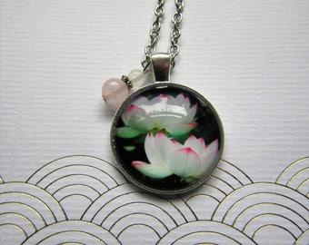 White Lotus Flowers Necklace, Lotus Necklace, Lotus Jewelry, White Flowers Jewelry, Flower Necklace, Floral Jewelry, Zen Jewelry, Lotus