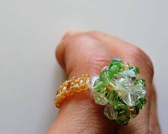 Gold fancy square beads green white ring heart ring