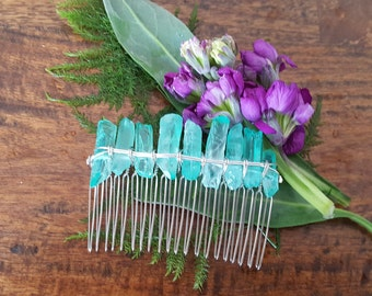 sea green quartz gemstone hair comb, beach wedding hair accessories, tropical wedding headpiece, bridal hair comb, mermaid hair accessories