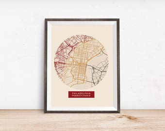 Philadelphia Map - Map Prints - Philadelphia - Minimalist Poster - Romantic Wall Art - City Maps - Home Decor -Pennsylvania - Wall Decor
