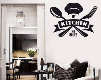 Wall Vinyl Decal Kitchen Tagline My Kitchen My Rules Cafe Restaurant Decor (2522dz)