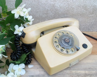 Vintage Beige Rotary Phone, Retro Home Rotary Telephone, Retro Phone, Antique Home Phone