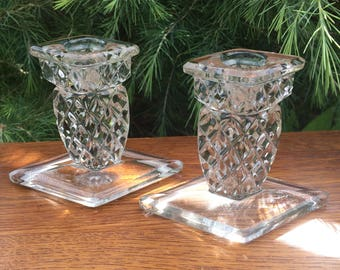 "Art Deco Glass Candlestick Holders, Czechoslovakian, Rudolfova Geometric Diamond Pattern,Immaculate, 3.75"" x 4.2"",  LOW COST SHIPPING"
