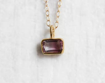 Tiny Pink Tourmaline Baguette Necklace - Gold Vermeil - Gold Filled