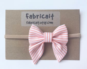 Coral Stripes Bow Headband. Pinstripe Bow. Pink Stripe Bow. Pink Bow Headband. Summer Bow. Pink Headband. Baby Shower Gift. Baby Girl Gift.