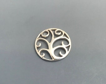 Filigree Tree Circle Charm Pendant, Sterling Silver