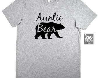 Auntie Shirt, Auntie Bear T Shirt , Unisex Cotton Tee - Aunt Bear Shirt - The Bear Family Tee Series - Gift For Her , Wife , Family