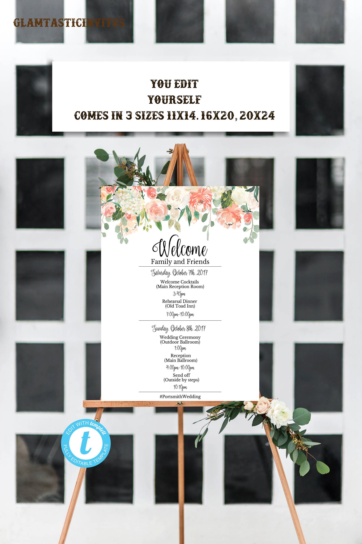 Wedding Program Sign Template Sunflower You Edit Welcome Printable DIY