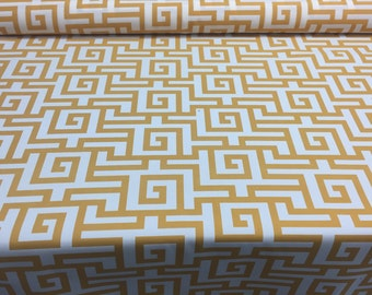 Terrasol Indoor/Outdoor Athens Greek Key Yellow Fabric by the yard