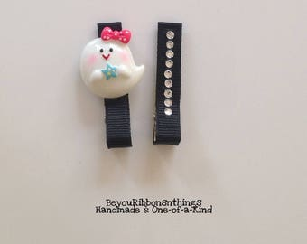 Friendly Ghost | Hair Clips for Girls | Toddler Barrette | Kids Hair Accessories | Black Grosgrain Ribbon | No Slip Grip | Halloween