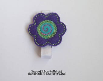 Purple Flower | Applique | Hair Clips for Girls | Toddler Barrette | Kids Hair Accessories | White Grosgrain Ribbon | Felties | No Slip Grip