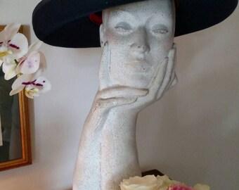 Vintage Navy Blue Upturned Brim Felt Hat/ Georgi/ Michael Howard Felt/ Satin Bow