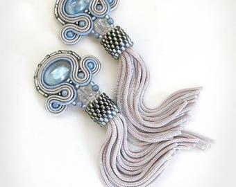 Blue tassel earrings, fringe boho blue earrings, Exclusive handmade summer jewelry, long statement earrings, birthday gift, OOAK earrings