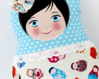 """Babushka matryoshka softie plush doll pillow gift, Medium, 38cm/15"""" tall"""