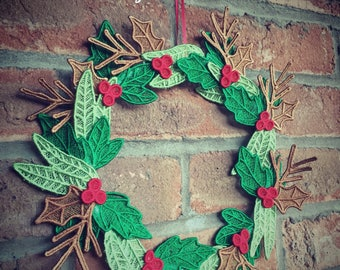 Embroidered Yuletide Lace Wreath