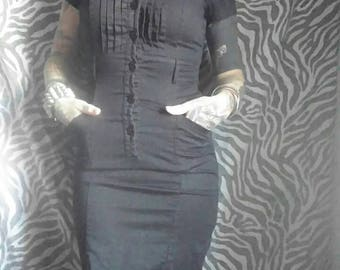 Rosie the Riveter Style Dress in Black / We Can Do It / Size Small S