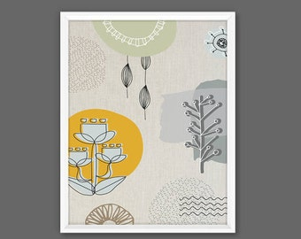 Mid Century Modern Art, Nature Elements, Retro hand drawn illustrative Nature Print INSTANT DOWNLOAD