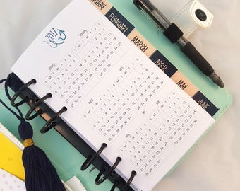 Personal Size Yearly Glance insert | printed personal size planner refill | yearly overview | 2017 calendar, 2018 calendar, kikki filofax
