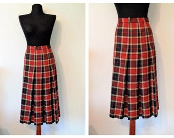 Vintage Tartan New Wool Skirt, Red Black Plaid Skirt, GOR RAY Kilt Skirt, Scottish Tartan Plaid Kilt Skirt, made in England, Size XL