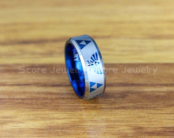 FREE SHIPPING FREE Custom Engraving Tungsten Band with Beveled Edge Zelda Triforce Inspired Pattern Ring - 8mm Blue Tungsten Wedding Ring