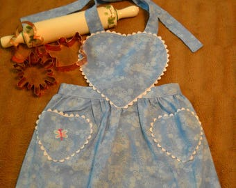 Children's blue swirl apron with butterfly