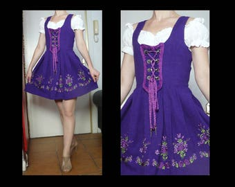Vintage 80s purple mini dirndl with embroidered skirt - traditional German Bavarian Oktoberfest dress / folkloric costume - size M / L
