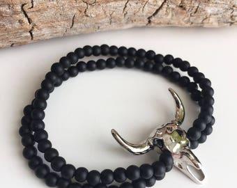 Bracelet onyx pendant Buffalo