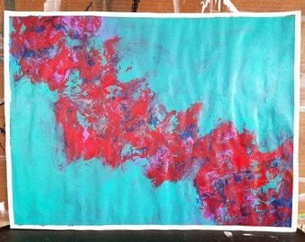 "FOREIGN SOUNDS- Original Abstract Expressionist Acrylic Painting On Paper 18x24"" By AMARTIZ"