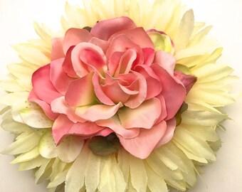 Handmade Pink Rose & Chrysanthemum Hair flower Clip