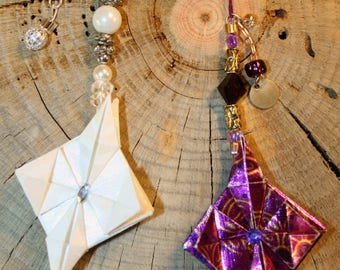 Set Of 2 Origami Small Hanging Ornaments White And Purple Stars