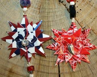 Origami Set of 2 Small Patriotic Country Red White And Blue Triple Layer Star Hanging Ornaments