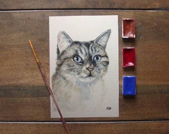 Small custom watercolor pet portrait. Original. Your dog/cat/pet