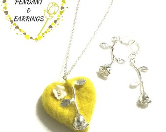 Valentine Felted Heart Pendant and Earring Set, Designer Jewellery Gift, Hand Crafted Gift,On Trend Gift, Stylish Valentine Gift for Her
