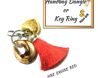 Fire engine Red Tassel Key Ring, Copper Bag Charm, Gold Heart Dangle, Variety Key Ring, On Trend Gift, Stylish Gift, Valentine Gift