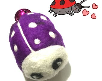 Purple Needle Felted Ladybug, Large Ladybug Cat Toy, Purple Catnip Cat Toy with Bell, Cat Things, Cat Stuff, Collectors Sculptured Ladybug