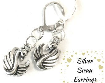 Sweet Swan Earrings, Antique Silver Swan Earrings, Gift for Her, Silver Drop Earrings, On Trend Stylish Earrings, Lovely Swan Earring Gift
