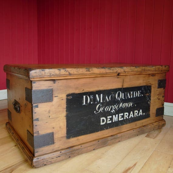 ANTIQUE VICTORIAN CHEST Coffee Table Storage Trunk Campaign Chest Reclaimed Rustic Military Vintage Wooden Box